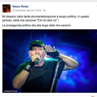 Musica e politica non vanno d'accordo. Vasco Rossi contro Salvini