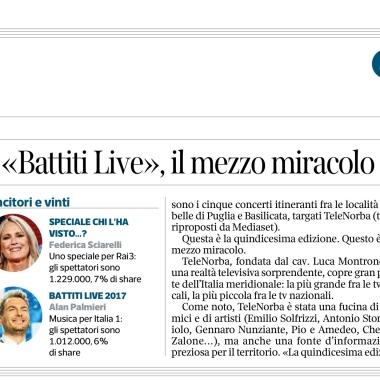 """Il Corriere della Sera: il """"miracolo"""" di Battiti Live"""