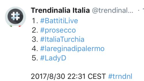 #BattitiLive, trend mondiale su Twitter