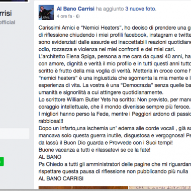 Al Bano si ritira dai social: troppo odio sul web