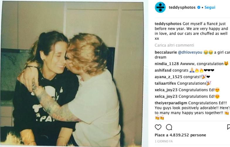 Musica- Ed Sheeran si è fidanzato con l'amica d'infanzia
