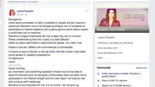 Sanremo – Laura Pausini salta la prima