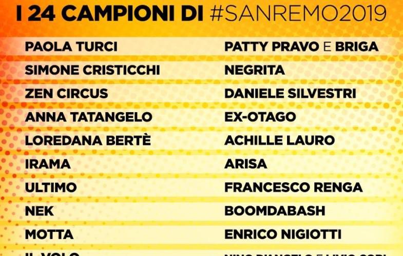 Sanremo – Ecco tutti i big del festival