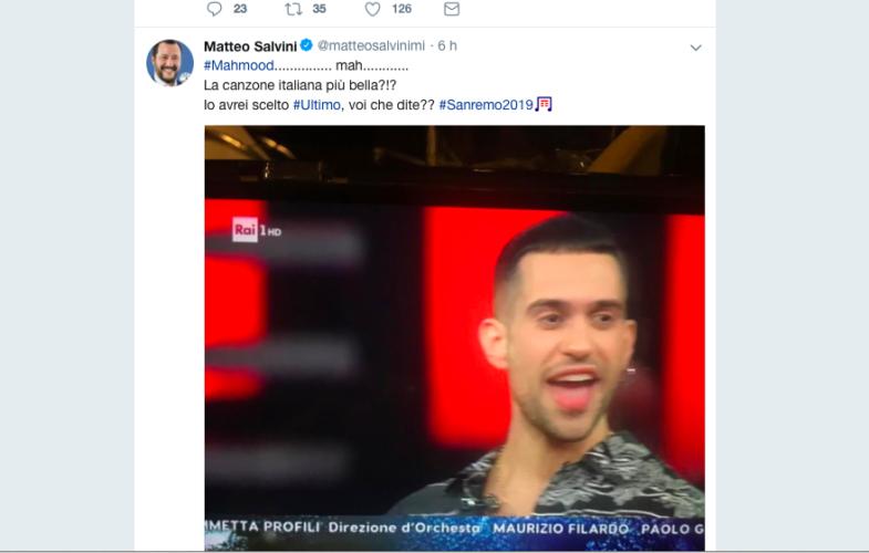 "#Sanremo2019 – Salvini ""Preferivo Ultimo"""