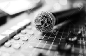 microphone on the mixing desk  macro black and white photo with shallow depth of field
