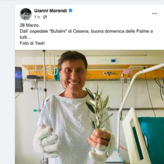 Gianni Morandi: Auguri per le Palme dall'ospedale