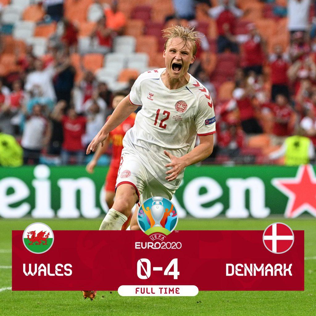Europei, la Danimarca travolge il Galles 4-0 e vola ai quarti di finale -  Radio Norba