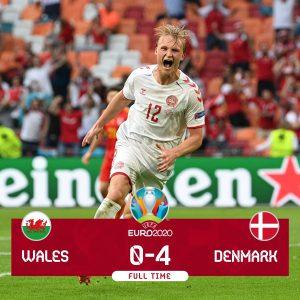 Europei, la Danimarca travolge il Galles 4-0 e vola ai quarti di finale