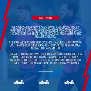 Covid, due calciatori dell'Inghilterra in auto-isolamento per dieci giorni