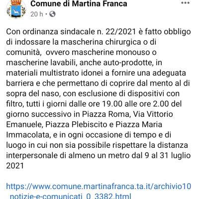 Troppi turisti, a Martina Franca il sindaco obbliga all'utilizzo di mascherine all'aperto