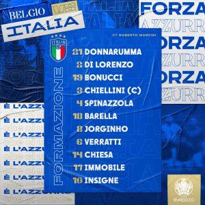 Belgio-Italia, le formazioni ufficiali: Mancini recupera Chiellini e punta su Chiesa