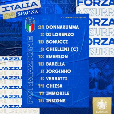 Italia-Spagna, le formazioni ufficiali: Emerson unica novità tra gli azzurri
