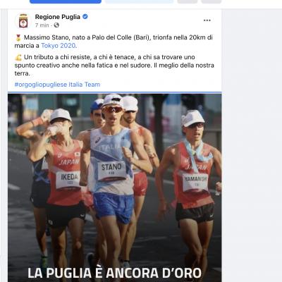 Massimo Stano medaglia d'oro nella 20km di marcia