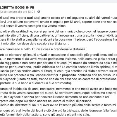 Loretta Goggi offesa per body shaming lascia i social