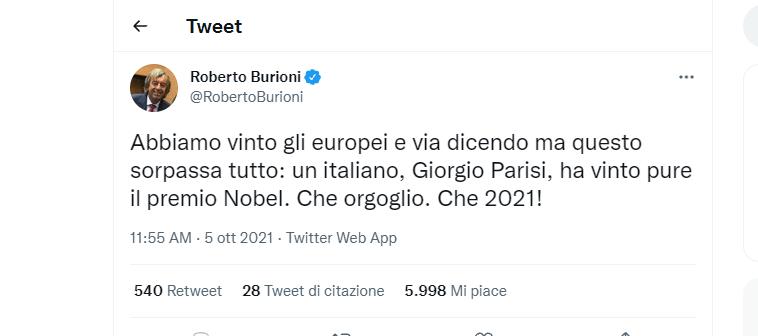 Il Nobel a Parisi, gioisce Burioni su Twitter
